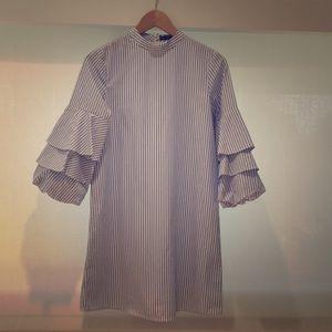 Zara Ruffle Sleeve Stripe Dress XS